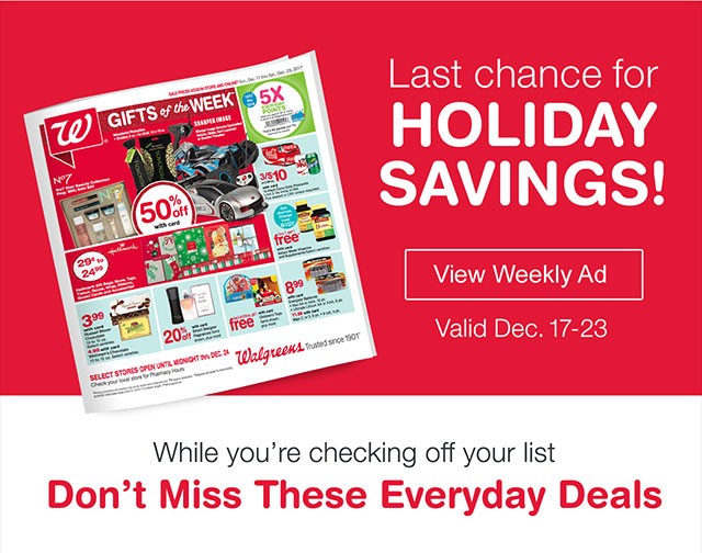 Last chance for HOLIDAY SAVINGS! View Weekly Ad