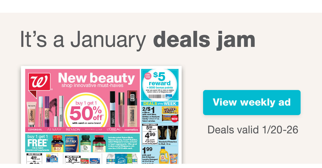 It's a January deals jam. View weekly ad
