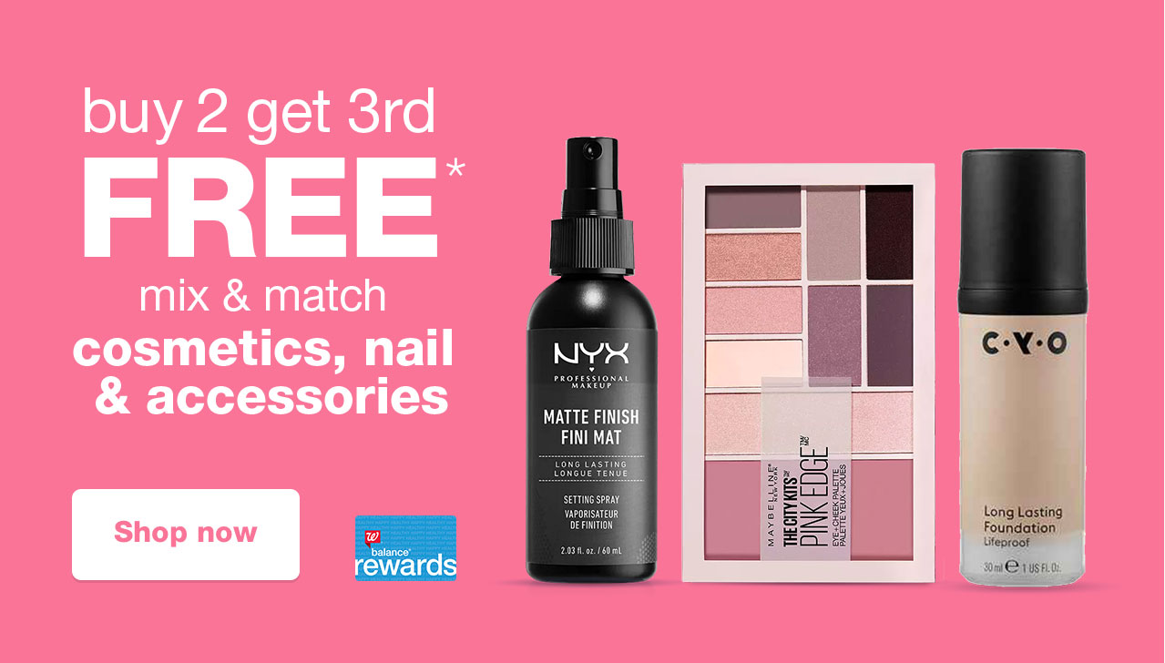 buy 2 get 3rd FREE* mix & match cosmetics, nail & accessories. Shop now
