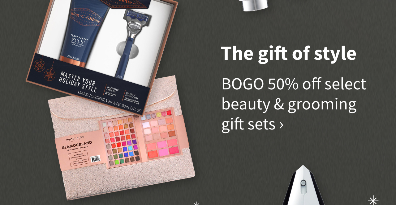 The gift of style. BOGO 50% off select beauty & grooming gift sets