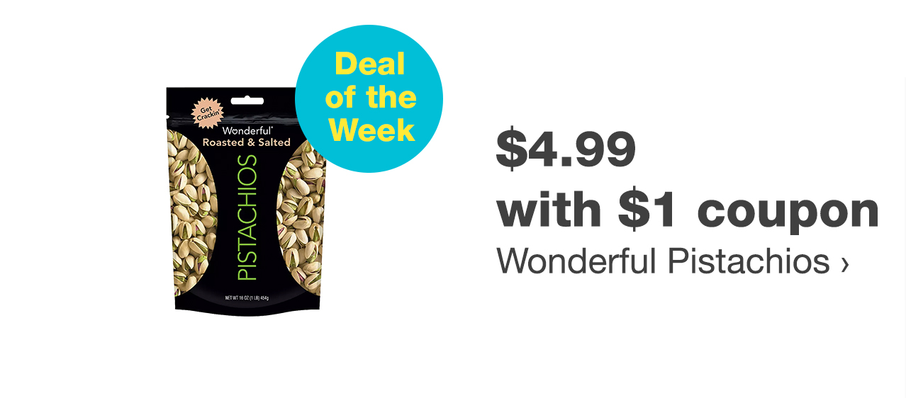 $4.99 with $1 coupon Wonderful Pistachios