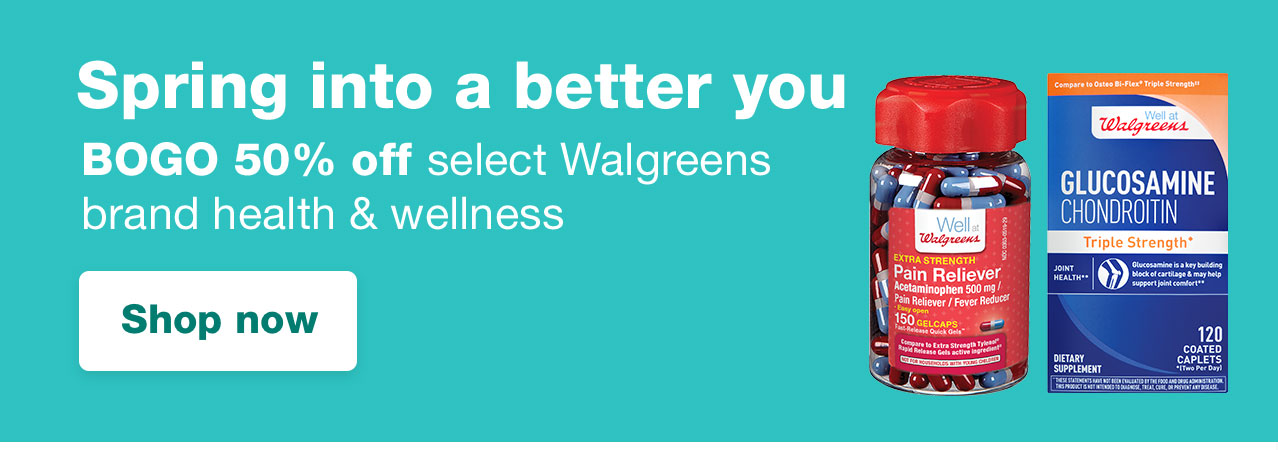 BOGO 50% off select Walgreens brand health & wellness. View offer