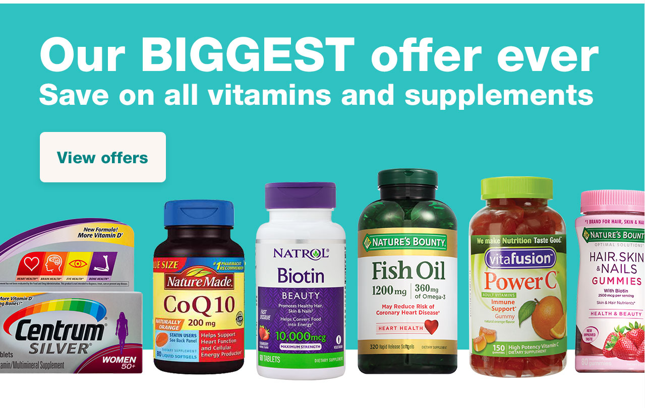 Our BIGGEST offer ever. Save on all vitamins and supplements. View offers