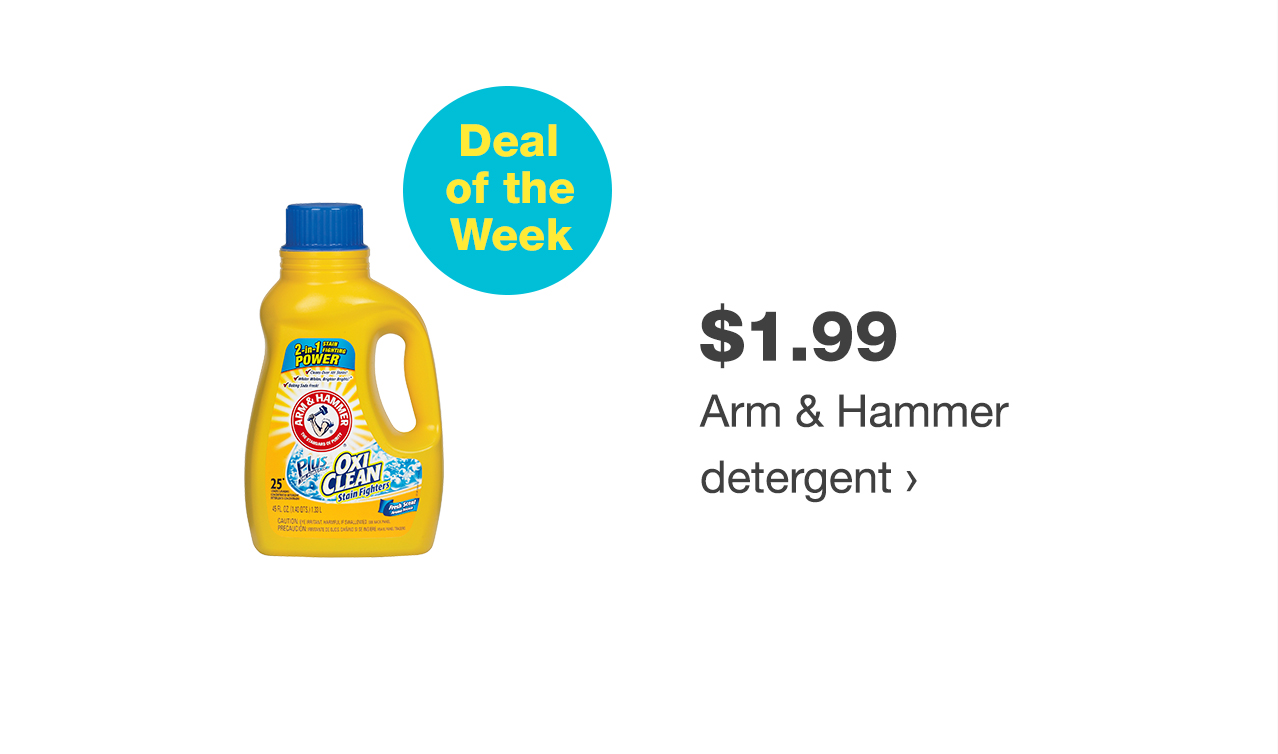 $1.99 Arm & Hammer detergent