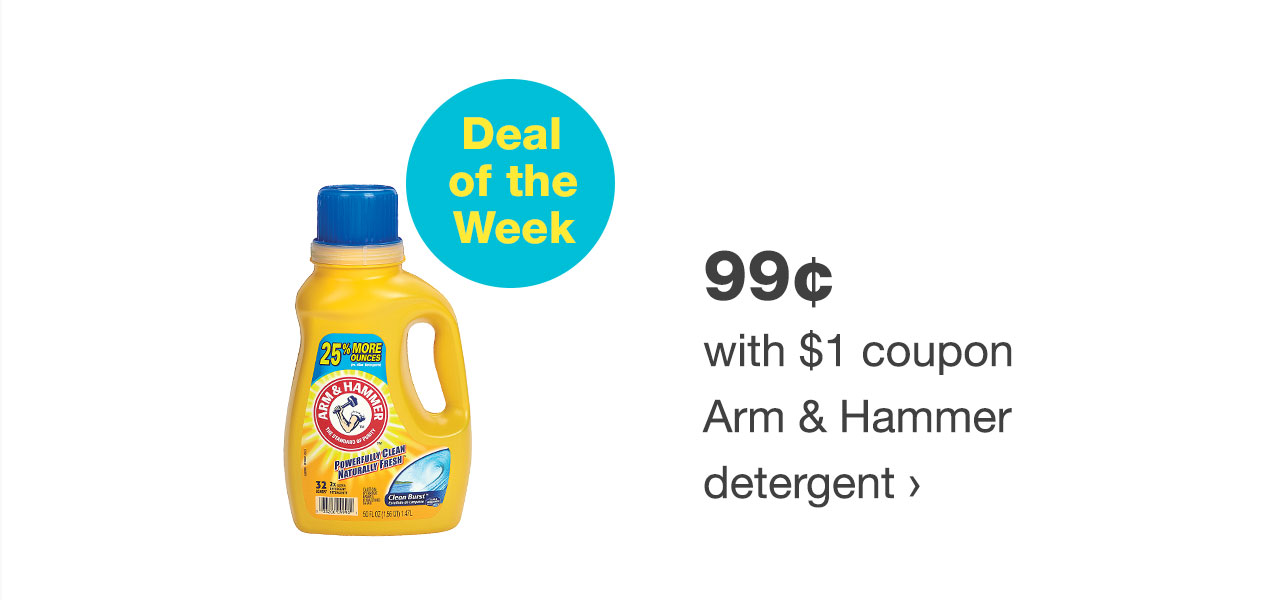 99¢ with $1 coupon Arm & Hammer detergent