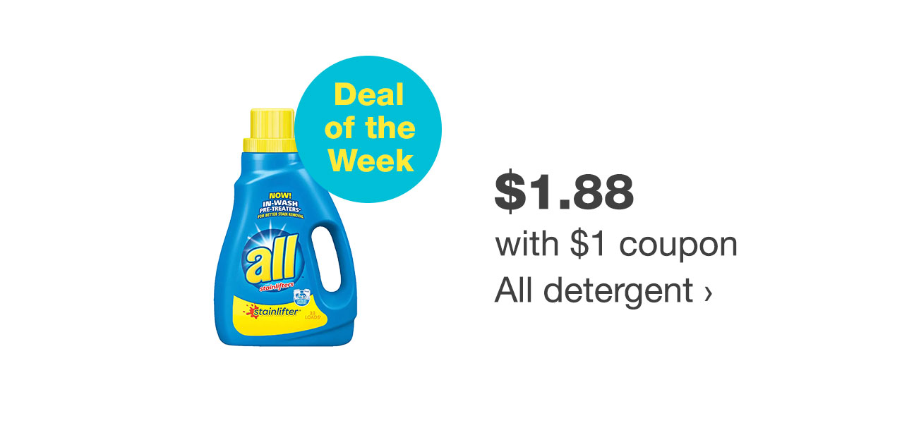 $1.88 with $1 coupon All detergent