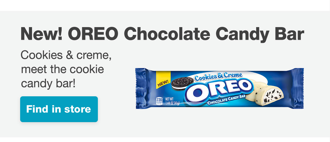 New! OREO Chocolate Candy Bar Cookies & creme, meet the cookie candy bar! Find in store