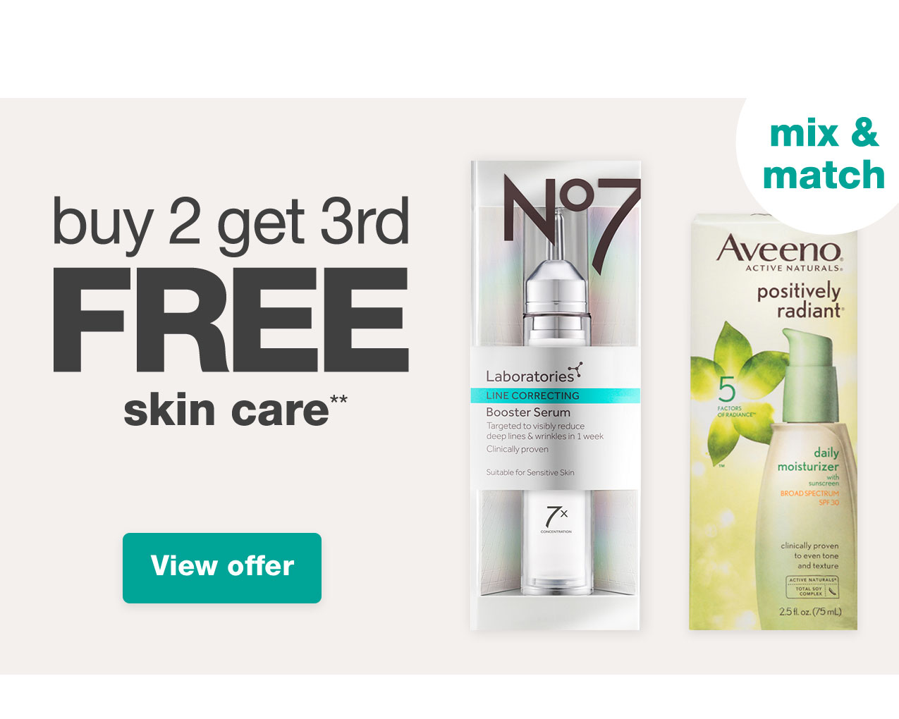 buy 2 get 3rd FREE skin care** View offer