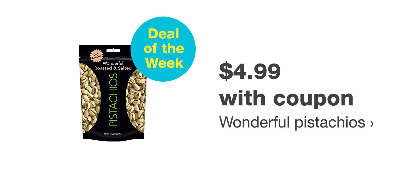 $4.99 with coupon Wonderful pistachios
