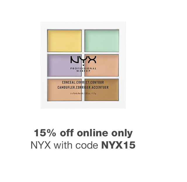 15% off online only NYX with code NYX15